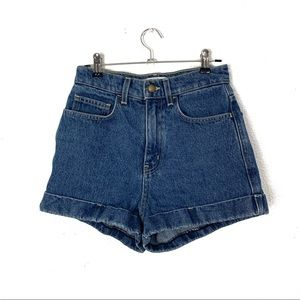 American Apparel high rise jean denim shorts 25